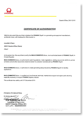MAG Pramac certifikat 2019